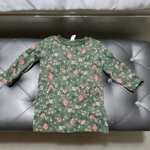 Olive green dress with pretty flowers.